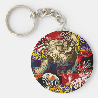 Beautiful Floral Abstract Basic Round Button Keychain
