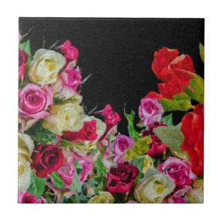 Beautiful Floral Abstract Black Ceramic Tile