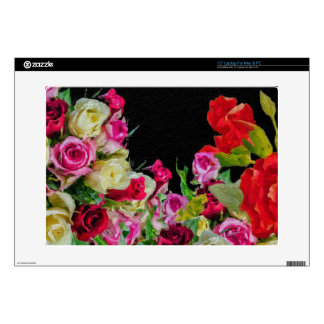 "Beautiful Floral Abstract Black Decal For 15"" Laptop"