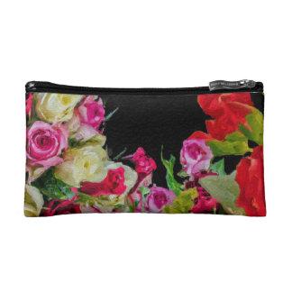 Beautiful Floral Abstract Black Makeup Bag