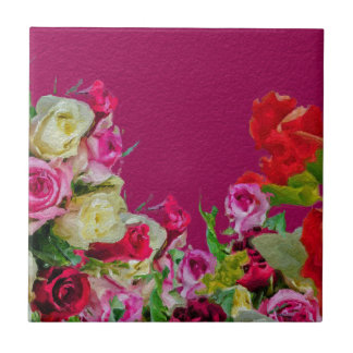 Beautiful Floral Abstract Pink Tile
