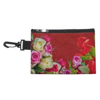 Beautiful Floral Abstract Red Accessory Bag