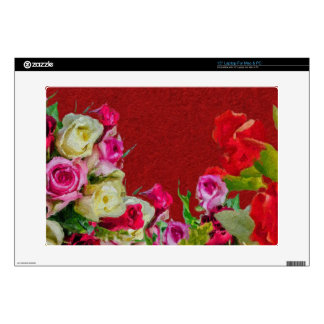 "Beautiful Floral Abstract Red Decal For 15"" Laptop"