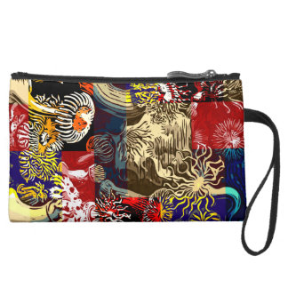 Beautiful Floral Abstract Suede Wristlet Wallet