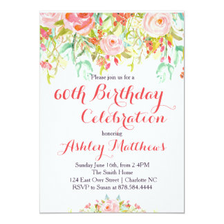 Beautiful Floral Adult Birthday Invitation