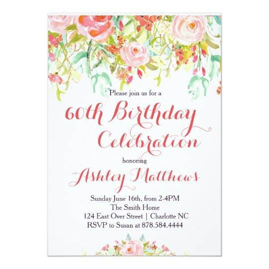 Beautiful floral adult birthday invitation zazzle beautiful floral adult birthday invitation filmwisefo Image collections