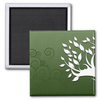 Beautiful floral and hearts on green fridge magnet