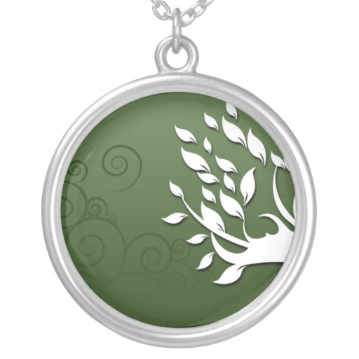 Beautiful floral and hearts on green round pendant necklace