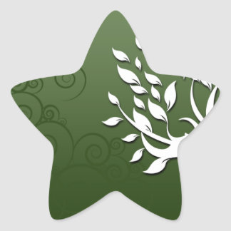 Beautiful floral and hearts on green star sticker
