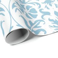 Beautiful Floral Aqua and White Damask Design Wrapping Paper