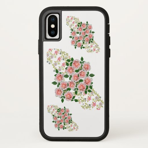 beautiful floral art pink flowers iPhone x case