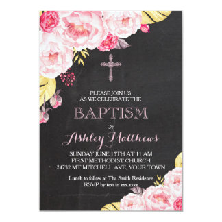 Beautiful Floral Baptism Invitation, Baby Card