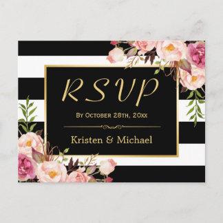 Beautiful Floral Black White Stripes Wedding RSVP Invitation Postcard