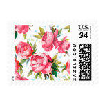 Beautiful Floral Bouquet  Pink Flowers Patterns Postage Stamps