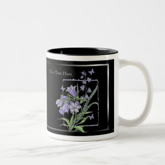 Beautiful Floral & Butterfly - Black Background Two-Tone Coffee Mug