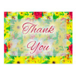 Beautiful Floral D4 Thank You Postcards