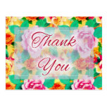 Beautiful Floral D7 Thank You Postcards