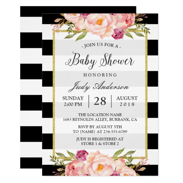 Beautiful Floral Decor Modern Stripes Baby Shower Card