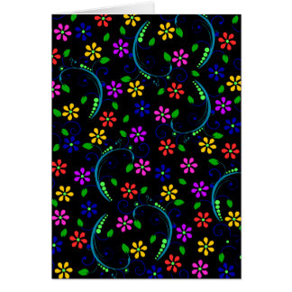 Beautiful Floral Design on Black Background Greeting Cards