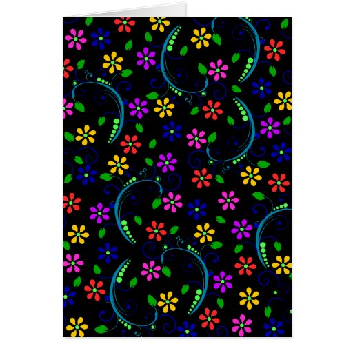 Beautiful Floral Design on Black Background Card