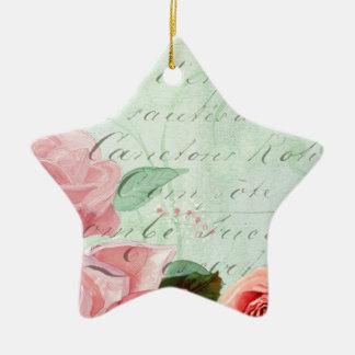 beautiful floral design Vintage Rose Ceramic Ornament