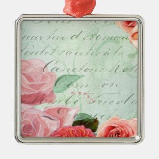 beautiful floral design Vintage Rose Metal Ornament