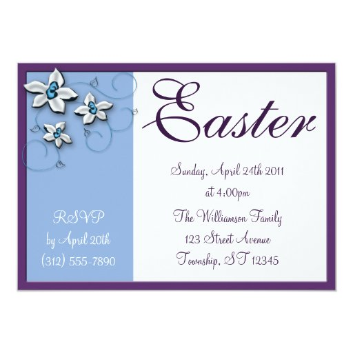 Beautiful Floral Easter Blue Holiday Invitations