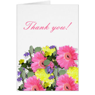Beautiful floral flower pattern pink yellow green card