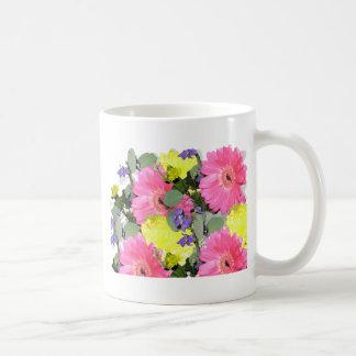 Beautiful floral flower pattern pink yellow green coffee mug