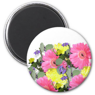 Beautiful floral flower pattern pink yellow green magnet