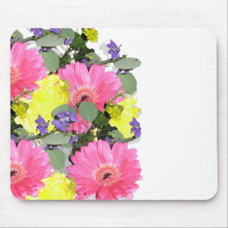 Beautiful floral flower pattern pink yellow green mouse pad