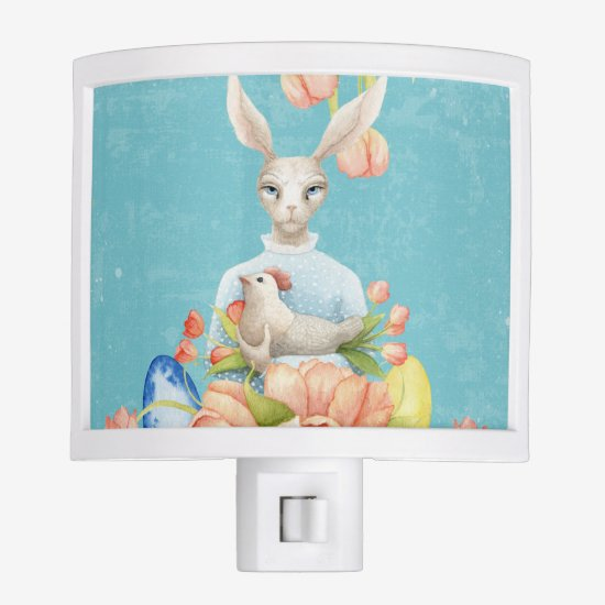 Beautiful Floral Flowers Animal Easter Bunny Night Light