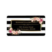 Beautiful Floral Gold Decor Black White Stripes Label