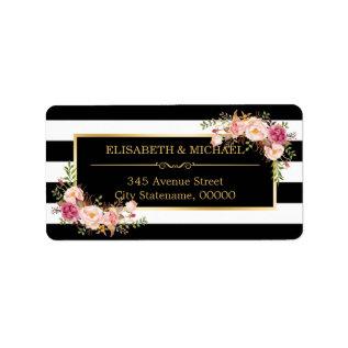 Beautiful Floral Gold Decor Black White Stripes Label at Zazzle