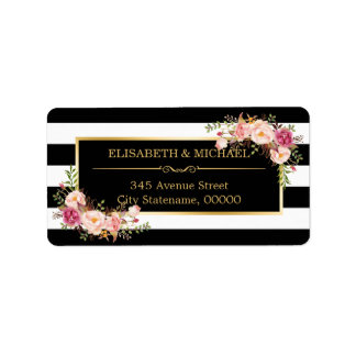 Beautiful Floral Gold Decor Black White Stripes Label