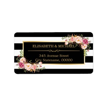 Toddler & Baby themed Beautiful Floral Gold Decor Black White Stripes Label