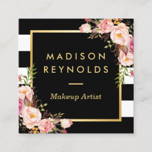 Floral business cards zazzle beautiful floral gold frame black white stripes square business card mightylinksfo
