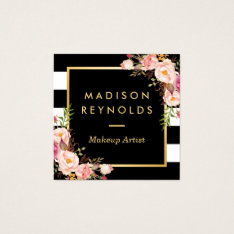 Beautiful Floral Gold Frame Black White Stripes Square Business Card at Zazzle