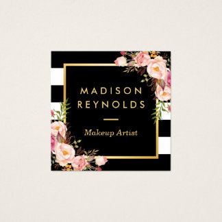 Beautiful Floral Gold Frame Black White Stripes Square Business Card