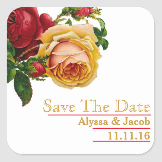 Beautiful Floral Gold Red Rose Save the Date Square Sticker