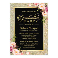 Beautiful Floral Gold Sparkles Graduation Party Card