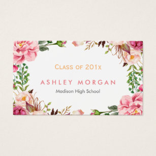 Graduate student business cards templates zazzle beautiful floral graduate students graduation business card wajeb Gallery