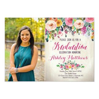 Beautiful Floral Graduation Invitation, Card