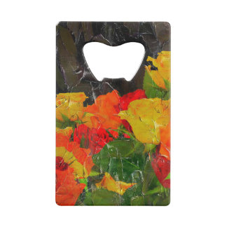 Beautiful Floral Grunge Painted Credit Card Bottle Opener