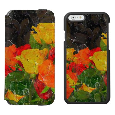 Beautiful Floral Grunge Painted iPhone 6/6S Wallet Case