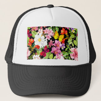 Beautiful,floral,hand painted, flowers,black,back trucker hat