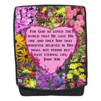 BEAUTIFUL FLORAL JOHN 3:16 BACKPACK