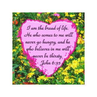 BEAUTIFUL FLORAL JOHN 6:35 DESIGN CANVAS PRINT