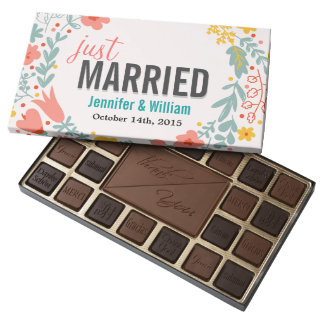 Beautiful Floral Just Married Wedding Celebration 45 Piece Assorted Chocolate Box