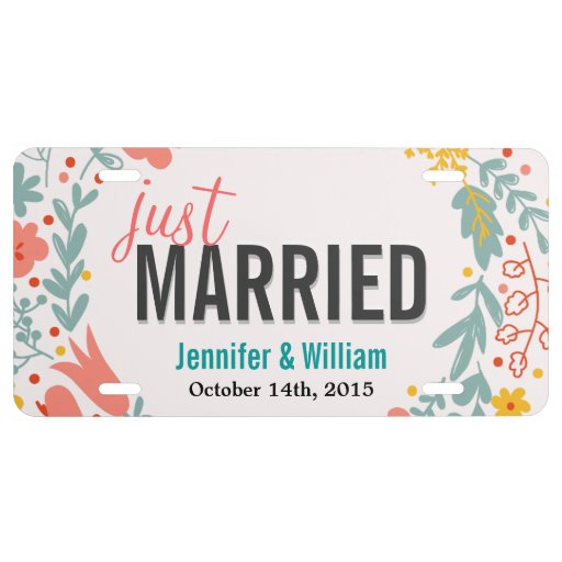 Beautiful Floral Just Married Wedding Decoration License Plate